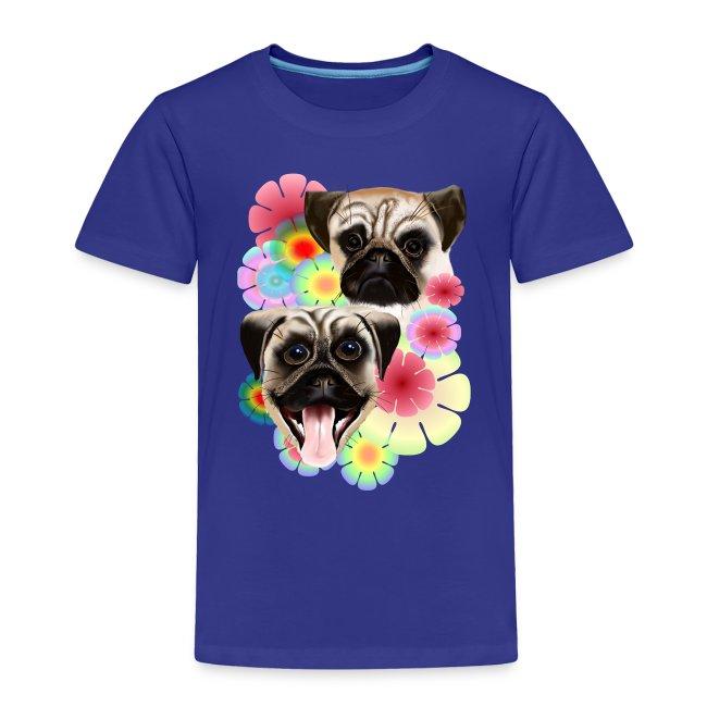 Happy Pug Grouchy Pug-Very bright flowers