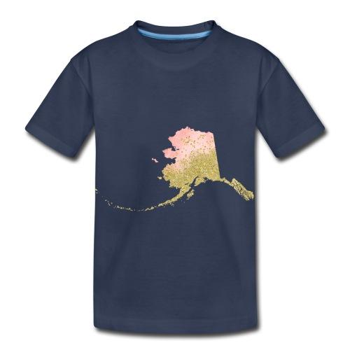 Watercolor Alaska Sate Peach & Gold - Toddler Premium T-Shirt