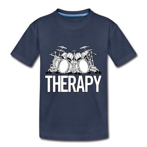 Drummers Therapy Drum Set Cartoon Illustration - Toddler Premium T-Shirt