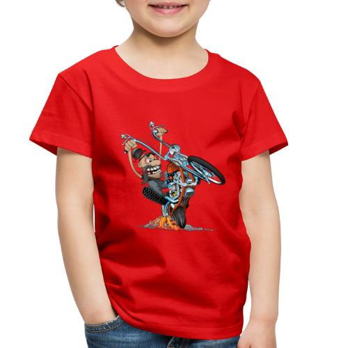 Funny biker riding a chopper cartoon - Toddler Premium T-Shirt
