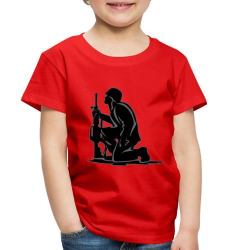 Military Serviceman Kneeling Warrior Tribute Illus - Toddler Premium T-Shirt