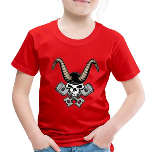Skull with horns and crossed pistons illustration - Toddler Premium T-Shirt