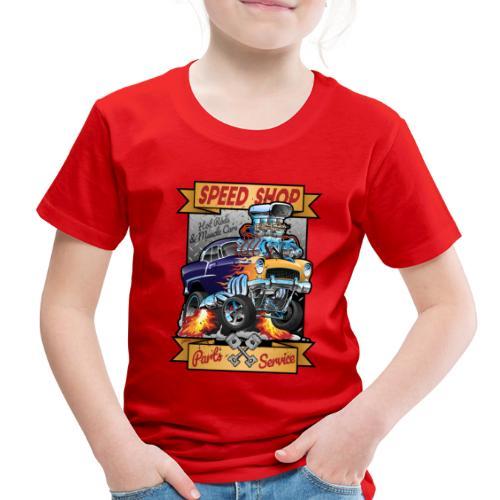 Speed Shop Hot Rod Muscle Car Cartoon Illustration - Toddler Premium T-Shirt