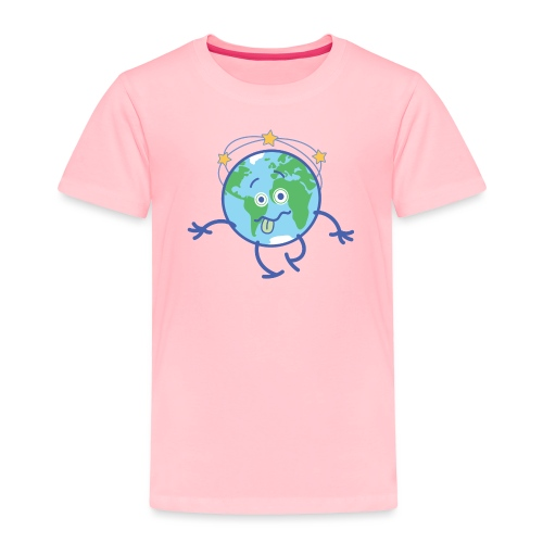 Cartoon Earth walking unsteadily and feeling dizzy - Toddler Premium T-Shirt