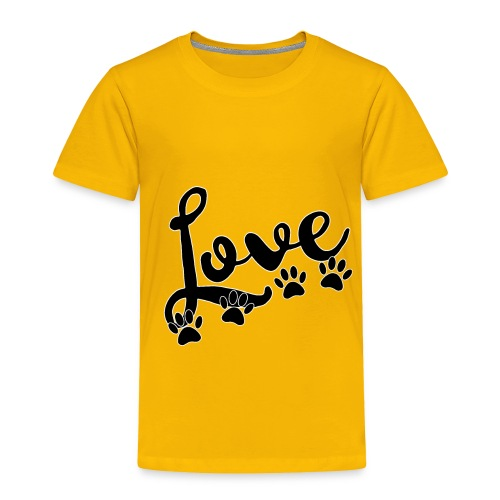 love typography with 4 dog paw prints - Toddler Premium T-Shirt