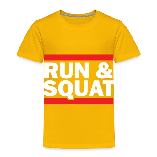 Run Squat White on Dark by Epic Greetings - Toddler Premium T-Shirt