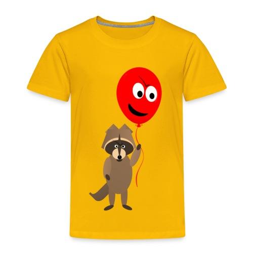 Raccoon and Balloon Cartoon Shirt - Toddler Premium T-Shirt