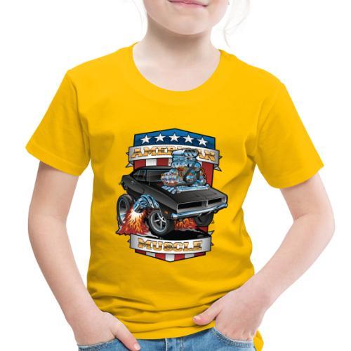 American Muscle Patriotic Muscle Car Cartoon - Toddler Premium T-Shirt