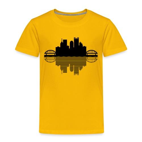 Pittsburgh Skyline Reflection (Black) - Toddler Premium T-Shirt