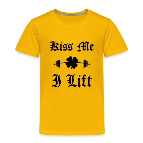 Kiss Me I Lift (old english, black) - Toddler Premium T-Shirt