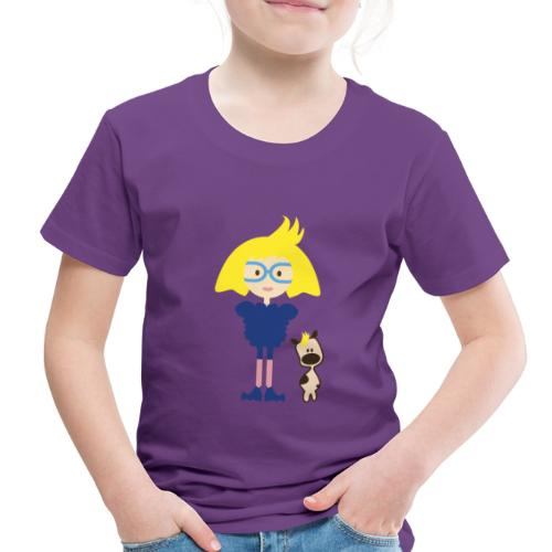 Blond Girl w/ Odd Fashion in Boots + Cute Dog - Toddler Premium T-Shirt