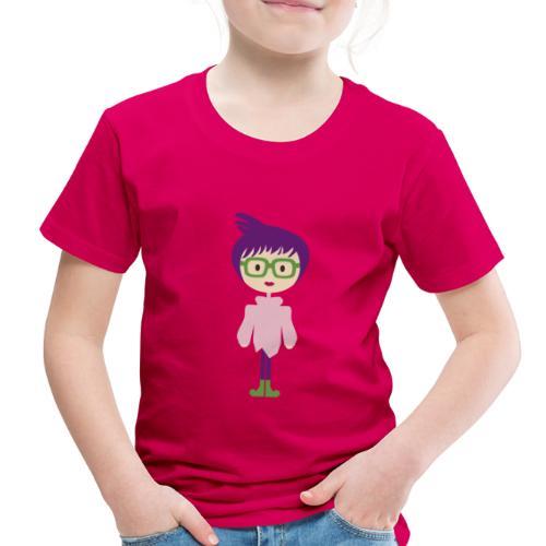 Funky Girl, Purple Hair + Big Eyeglasses w/ Boots - Toddler Premium T-Shirt