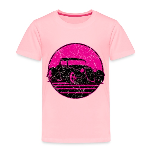 Retro Hot Pink Hot Rod Grungy Sunset Illustration - Toddler Premium T-Shirt