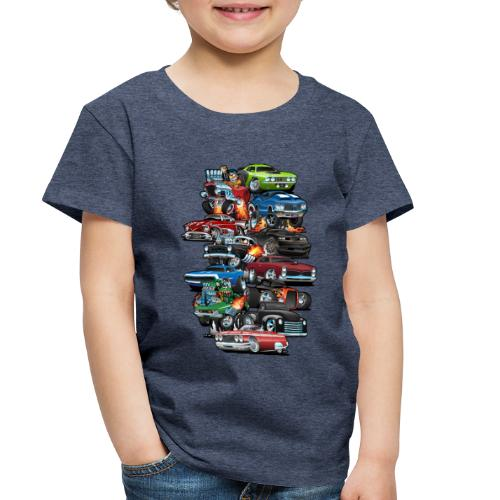 Car Madness! Muscle Cars and Hot Rods Cartoon - Toddler Premium T-Shirt