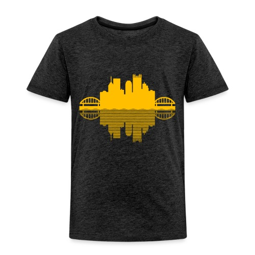 Pittsburgh Skyline Reflection (Gold) - Toddler Premium T-Shirt