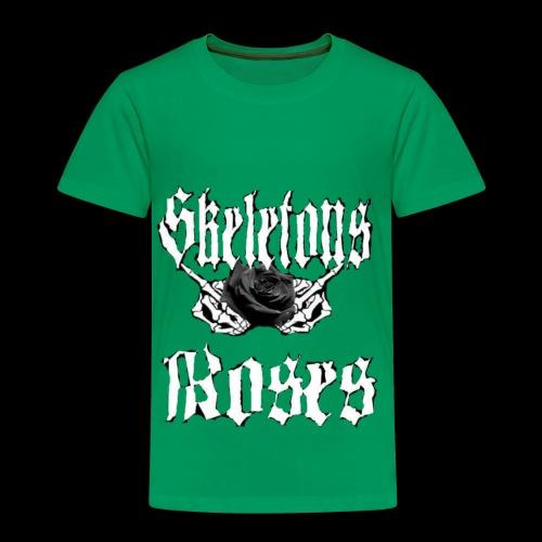 Skull Middle Finger Roses Design - Toddler Premium T-Shirt