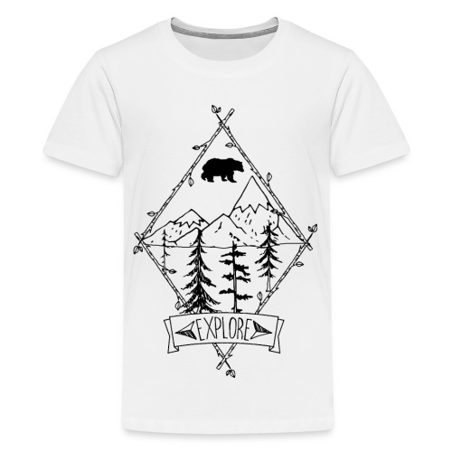 explore nature with apline trees and bear - Kids' Premium T-Shirt