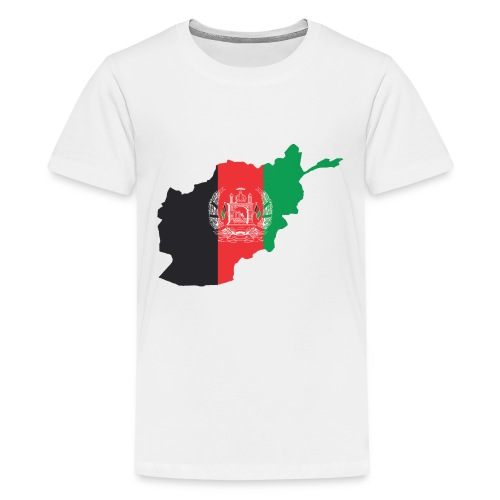 Afghanistan Flag in its Map Shape - Kids' Premium T-Shirt