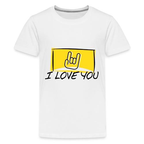 I Love You with sign language Yellow window. - Kids' Premium T-Shirt