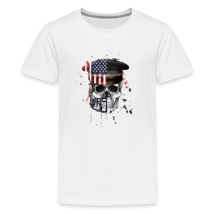 American Flag Military Cap Skull collection - Kids' Premium T-Shirt