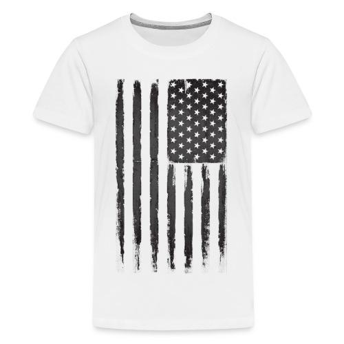 Black Grunge American flag - Kids' Premium T-Shirt