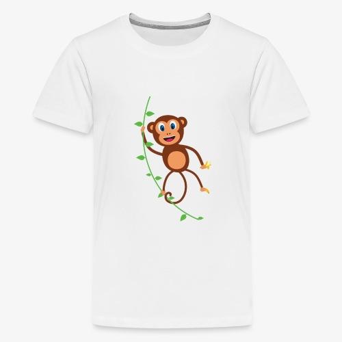 Funny Monkey Swinging On A Vine Merchandise - Kids' Premium T-Shirt