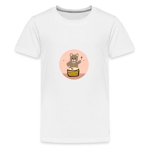 Bear playing drum - Kids' Premium T-Shirt