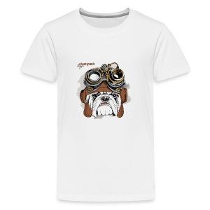 Bulldog Portrait Steampunk Helmet - Kids' Premium T-Shirt