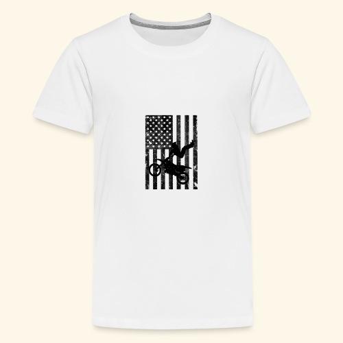 American Flag (Black and white) - Kids' Premium T-Shirt