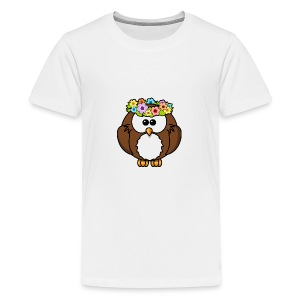 Owl With Flowers On Head T-Shirt - Kids' Premium T-Shirt
