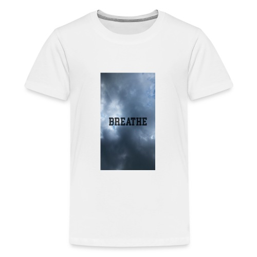 Clouds with Breathe text - Kids' Premium T-Shirt