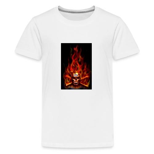 red fire skull - Kids' Premium T-Shirt