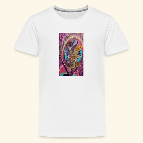 peacock feather and flower - Kids' Premium T-Shirt