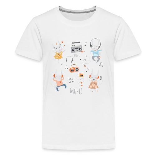 Love music with lovely cute rabbits. - Kids' Premium T-Shirt