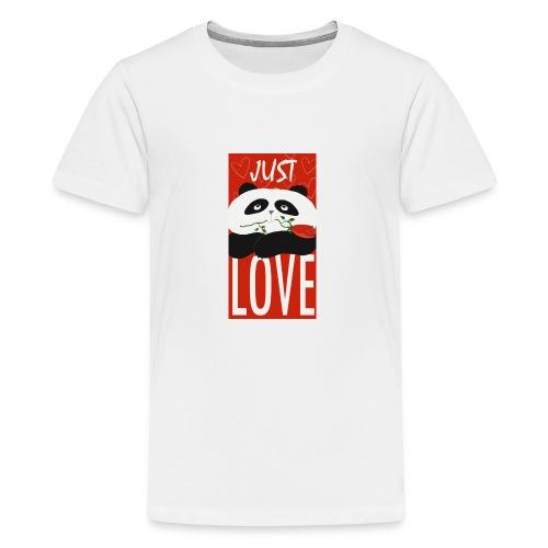 Panda Funny Romantic Cartoon Love Cute Flower - Kids' Premium T-Shirt