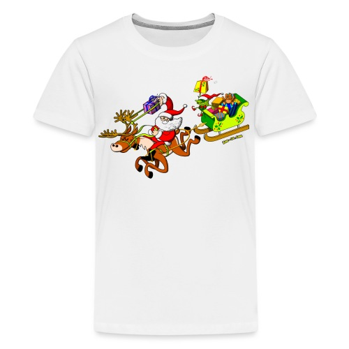 Santa's Gift Delivery with a Slingshot - Kids' Premium T-Shirt