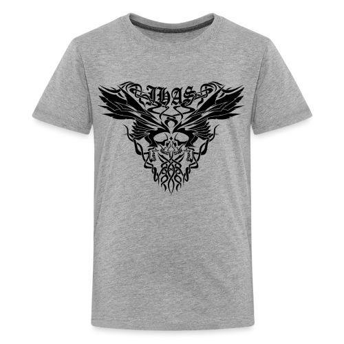 Vintage JHAS Tribal Skull Wings Illustration - Kids' Premium T-Shirt