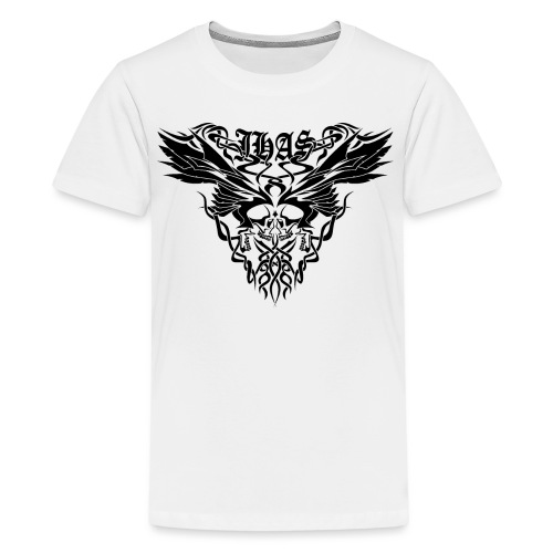 Vintage JHAS Tribal Skull Wings Illustration - Kids' Premium T-Shirt