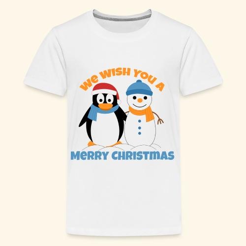 santa penguin with snowman christmas - Kids' Premium T-Shirt