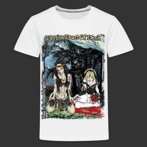 Thanksgiving Zombie Feast Full Background - Kids' Premium T-Shirt