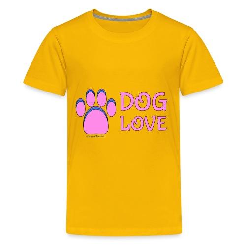 Pink Dog paw print Dog Love - Kids' Premium T-Shirt