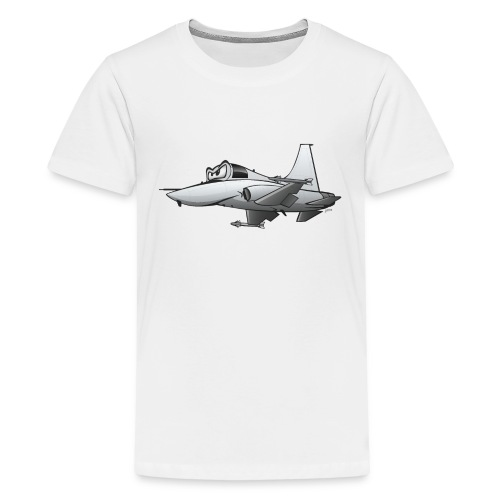 Military Fighter Jet Airplane Cartoon - Kids' Premium T-Shirt
