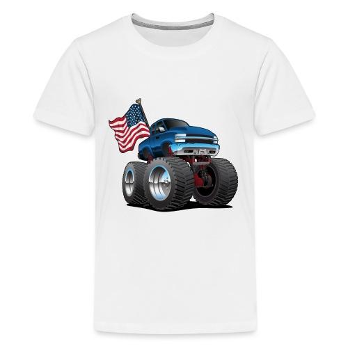 Monster Pickup Truck with USA Flag Cartoon - Kids' Premium T-Shirt