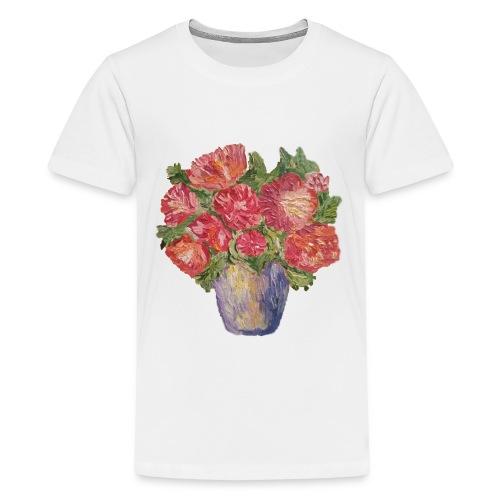 flowers, peonies, roses, vase, bouquet, freshness - Kids' Premium T-Shirt