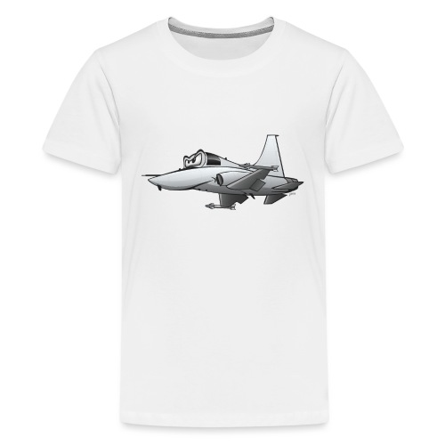 Military Fighter Jet Airplane Cartoon - Kids' Premium T-Shirt