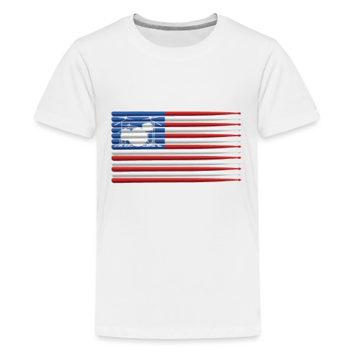American Drummer Flag with Drum Kit and Sticks - Kids' Premium T-Shirt