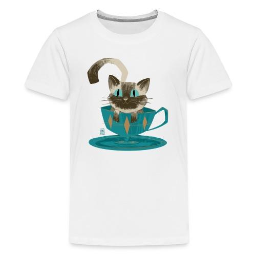 Cat in a Teacup by Kim B - Kids' Premium T-Shirt