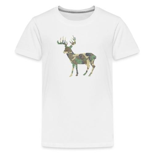 Distressed Camo Deer Silhouette T-Shirt - Kids' Premium T-Shirt