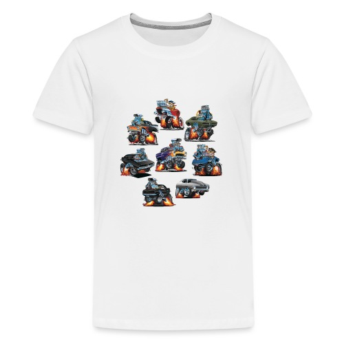Car Crazy Classic Hot Rod Muscle Car Cartoons - Kids' Premium T-Shirt