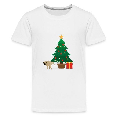 Pug and Gift under the Christmas Tree - Kids' Premium T-Shirt
